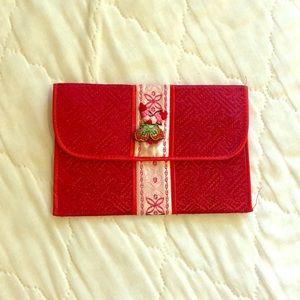 NWOT Vintage Red Silk Chinese Wallet